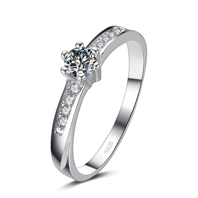 Promotion fashion super shiny CZ zircon 30% silver plated ladies`wedding finger