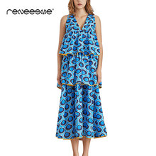 2019 summer new women dress bow tie lace up cake bud print sleeveless v neck mid-calf ladies dresses casual chic beach vestidos цена