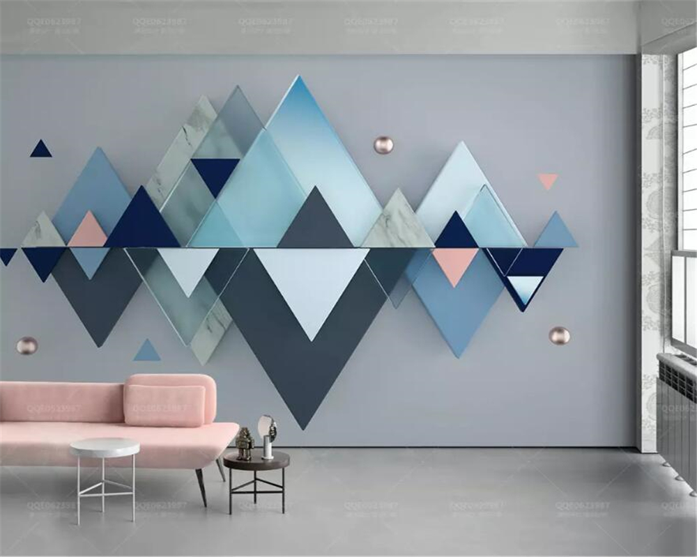 Stupendous Us 8 85 41 Off Beibehang Custom Photo Wallpaper 3D Blue Geometric Triangle Wallpaper Living Room Bedroom Sofa Background Wall Papel De Parede In Evergreenethics Interior Chair Design Evergreenethicsorg