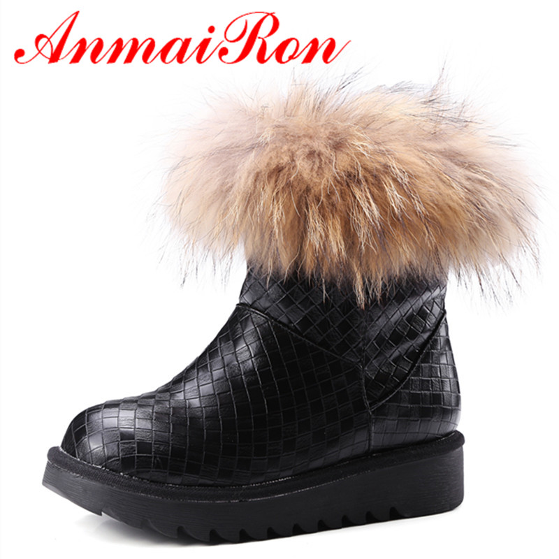 ANMAIRON Classic Winter Warm Snow Boots Shoes Woman Feathers Charms Round Toe Ankle Boots for WomenBig Size 34-43 Low Heels enmayla ankle boots for women low heels autumn and winter boots shoes woman large size 34 43 round toe motorcycle boots