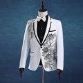 Мужчин Slim White Wedding Костюмы Установить Страстный Певец Хозяин Вечернее Одежда Этап одежда Вышитые Блестка Вечернее Платье