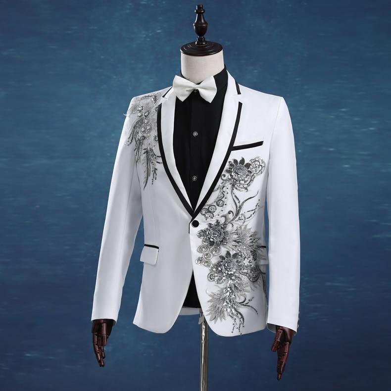 남자 슬림 화이트 웨딩 정장 세트 열정적 인 남자 가수 호스트 저녁 파티 옷 무대 착용 수 놓은 Paillette 정식 드레스