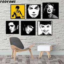FOOCAME Audrey Hepburn Bruce Lee Marilyn Monroe Michael Jackson Posters and Prints Art Canvas Painting Home Decor Pictures