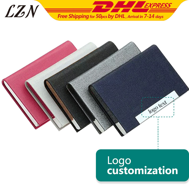 LZN 50pcs A Lot Exquisite Design Buiness Men Card Holder Women Metal Business Card Case Free Engraved Name/Date/Text For Wedding