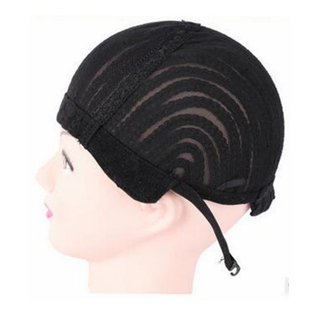 ( 2 Pieces/lot ) FREE Shipping Adjustable Strap Elastic Mesh Glueless Cornrow Crochet Synthetic Braided Weaving Wig Cap Black 3