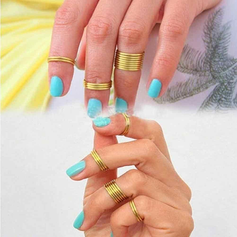 16 ชิ้น/เซ็ตแฟชั่นสไตล์พังค์แหวนซ้อนกันได้ธรรมดาเหนือนิ้วกลางแหวนนิ้วแหวน
