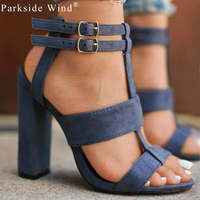 Suede Leather Girl S Sandals 5 8cm Navy Female High Heels Shoes Woman Khaki Sandals Ankle