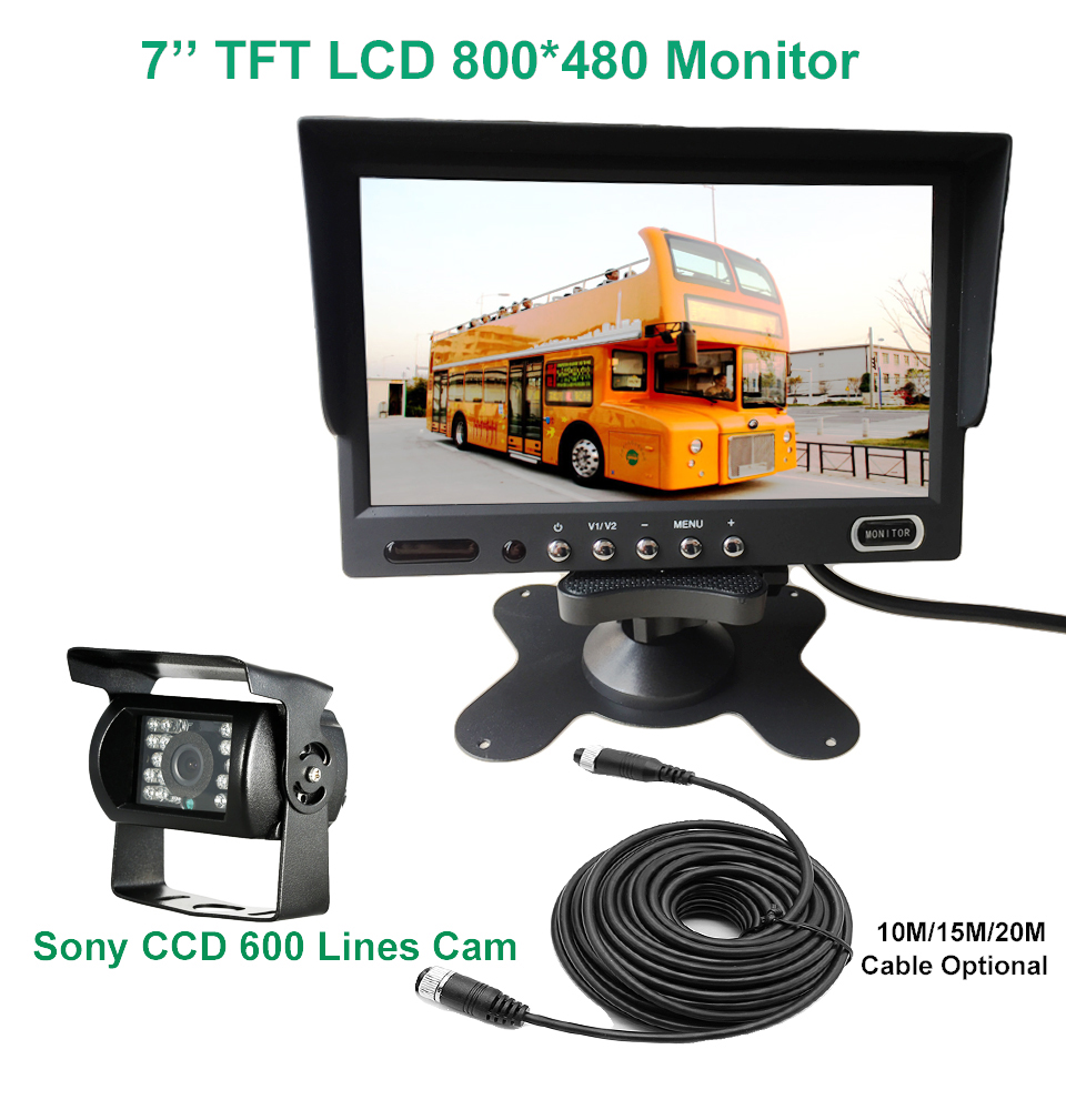 KOENBANG 4pin 600TV Lines SONY CCD Rear View Reverse Camera + 800*480 7 inch TFT LCD Monitor System For Bus Houseboat Truck diysecur 4pin dc12v 24v 7 inch 4 split quad lcd screen display rear view video security monitor for car truck bus cctv camera