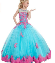 2016 New Arrival Little Girl Ball Gown Scoop Appliqued Pageant Floor Length Flower Girls Dresses For Children Prom Gown Cute