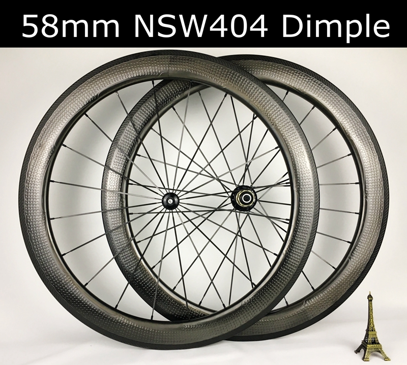 Road bike 58mm dimple carbon wheelset dimple wheel tubeless ready clincher