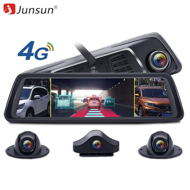 """Junsun 2019 Восьмиядерный 4G 4-канальный ADAS видеокамера на ОС андроид для автомобиля Dashcam 10 """"зеркало заднего вида gps WiFi FHD 1080 P задний объектив видеорегистратор"""
