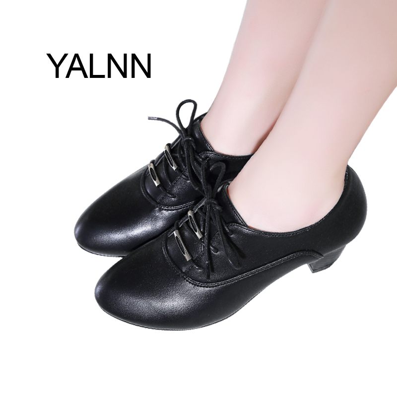 YALNN Women New Winter Casual Pointed Toe High Heel Shoes Sexy Lace-up Thick Heels Black Pumps for Girls facndinll new black patent genuine leather pointed toe rhinestone sexy high heels lace up women pumps ladies party casual shoes