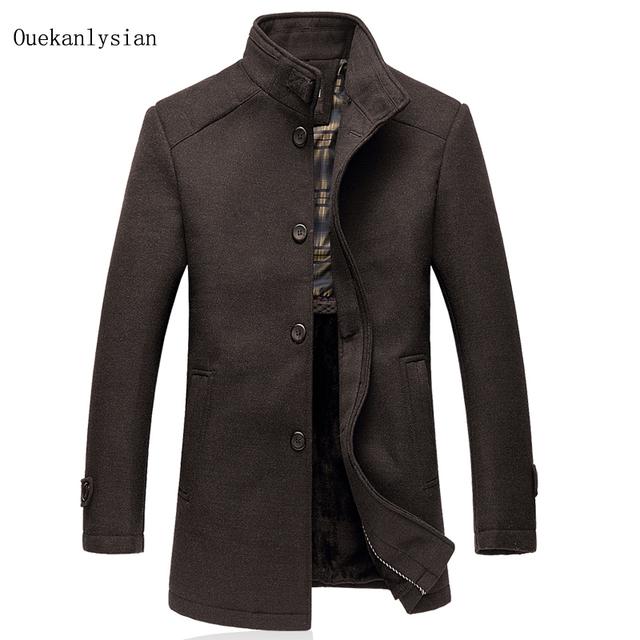 Alta Qualidade de Lã Inverno Combina Casaco de Lã dentro do Forro Quente Engrosse Gola de Médio-longo Sobretudo Dos Homens Outwear Erkek Mont 5XL