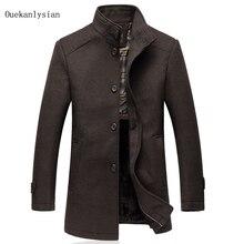 High Quality Winter Woolen Blends Coat Wool Liner inside Warm Thicken Stand Collar Mid-long Overcoat Men Outwear Erkek Mont 5XL