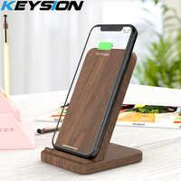 KEYSION 10 W en bois Qi chargeur sans fil pour iPhone XR XS Max 8 Plus Xiao mi 9 rapide sans fil support de charge pour Samsung S10 S9 S8