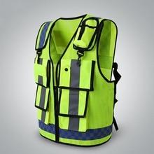 Светоотражающий Жилет для безопасности с высокой видимостью, дизайнерский светоотражающий жилет с карманами, дышащий Регулируемый защитный жилет, одежда для велоспорта на открытом воздухе