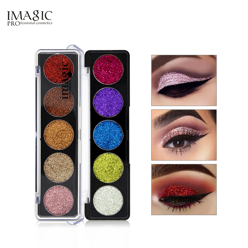 IMAGIC Glitter Eye Shadow Bright Rainbow EyeShadows Cosmetic Make up Glitters Ditekan Diamond Rainbow Eyeshadows