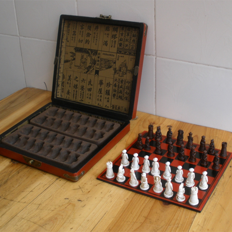 ... New Antique Chess Set Of Chess Wooden Coffee Table Antique Miniature Chess  Board Chess Pieces Move ...