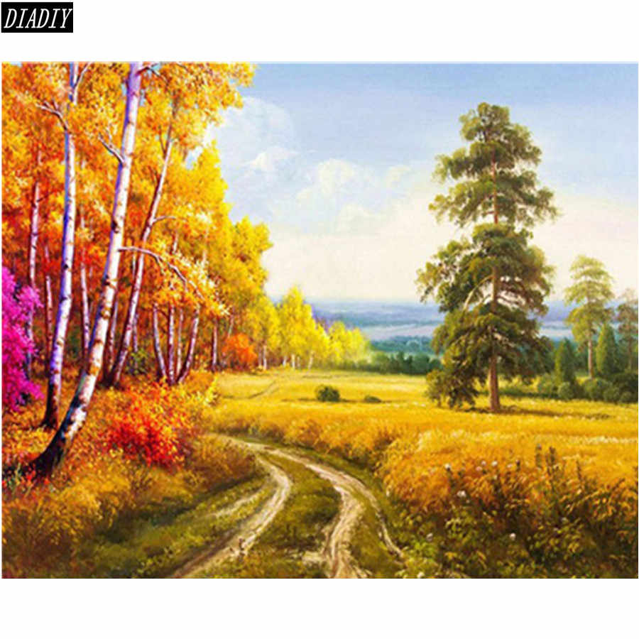 DIY needlework embroidery nature landscape tree 5D full beading cube round diamond painting kits patterns rhinestones mosaic