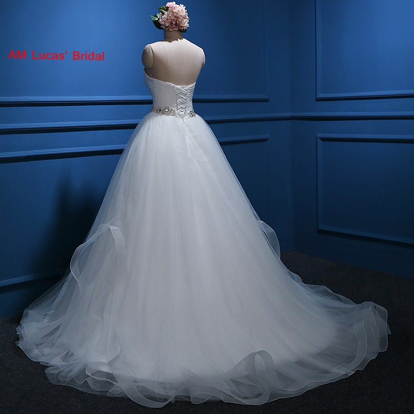 New Ball Gown Wedding Dresses Sashes Lace Up Pleat Bridal Party ...