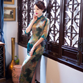 Charming Retro Women Satin Silk Half Sleeve Cheongsam Chinese Traditional Wedding Evening Dress High-slit Long Qipao QP5