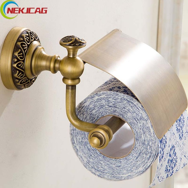 Free Shipping Bathroom Antique Brass Carving Toilet Paper Holder With Cover Wall Mounted Toilet Paper Roll Rack
