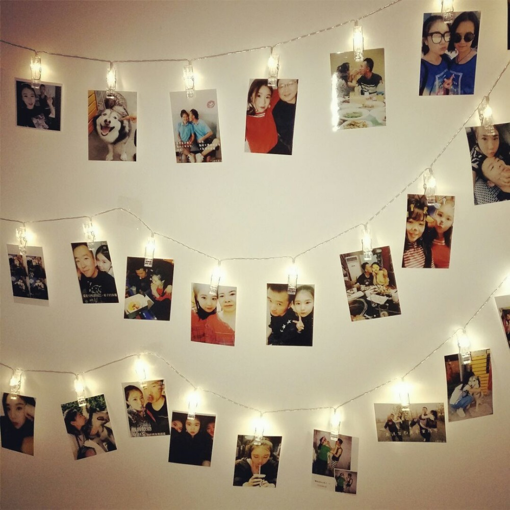 2M-10M Christmas LED Card Photo Clip Lamp String Fairy Garland Curtain Lights For Hanging Photos Holiday Party Wedding Decor