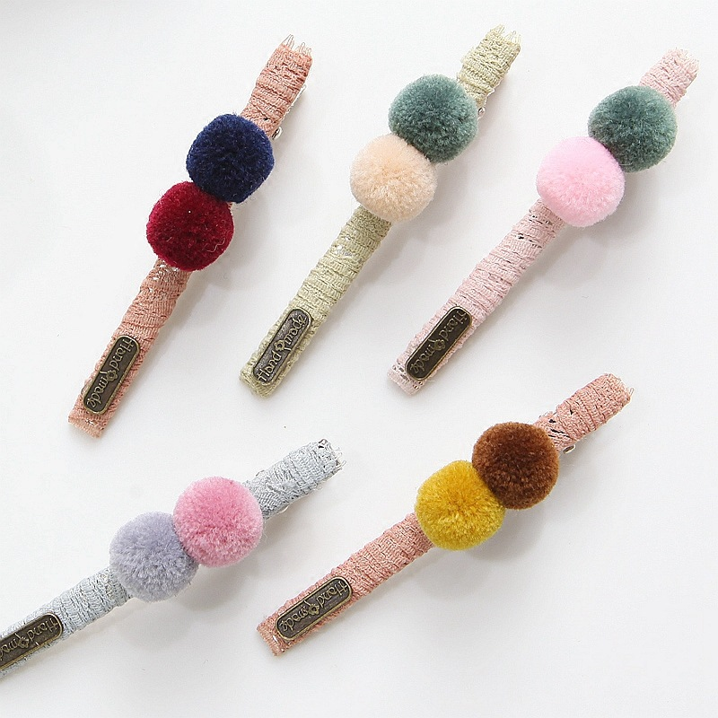 2pcs/lot Multicolor Hairclip Cute Solid Hair Ball Hairpins Handmade Lovely Barrette For Kids Girls Hair Accessories handmade gray faux leather hair barrette wood stick pin