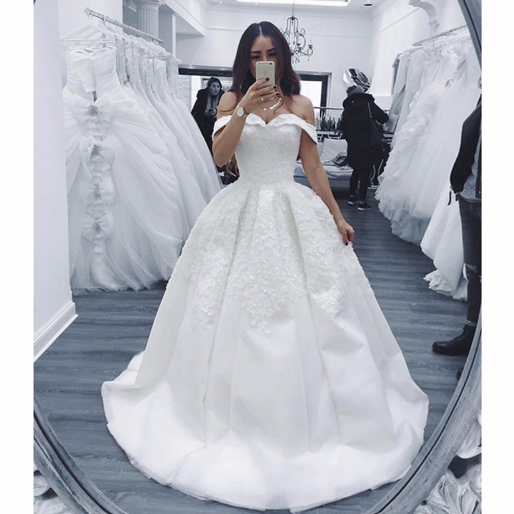 Off The Shoulder Vestido De Noiva Muslim Wedding Dresses Ball Gown Sweetheart Boho Dubai Arabic Wedding Gown Bridal