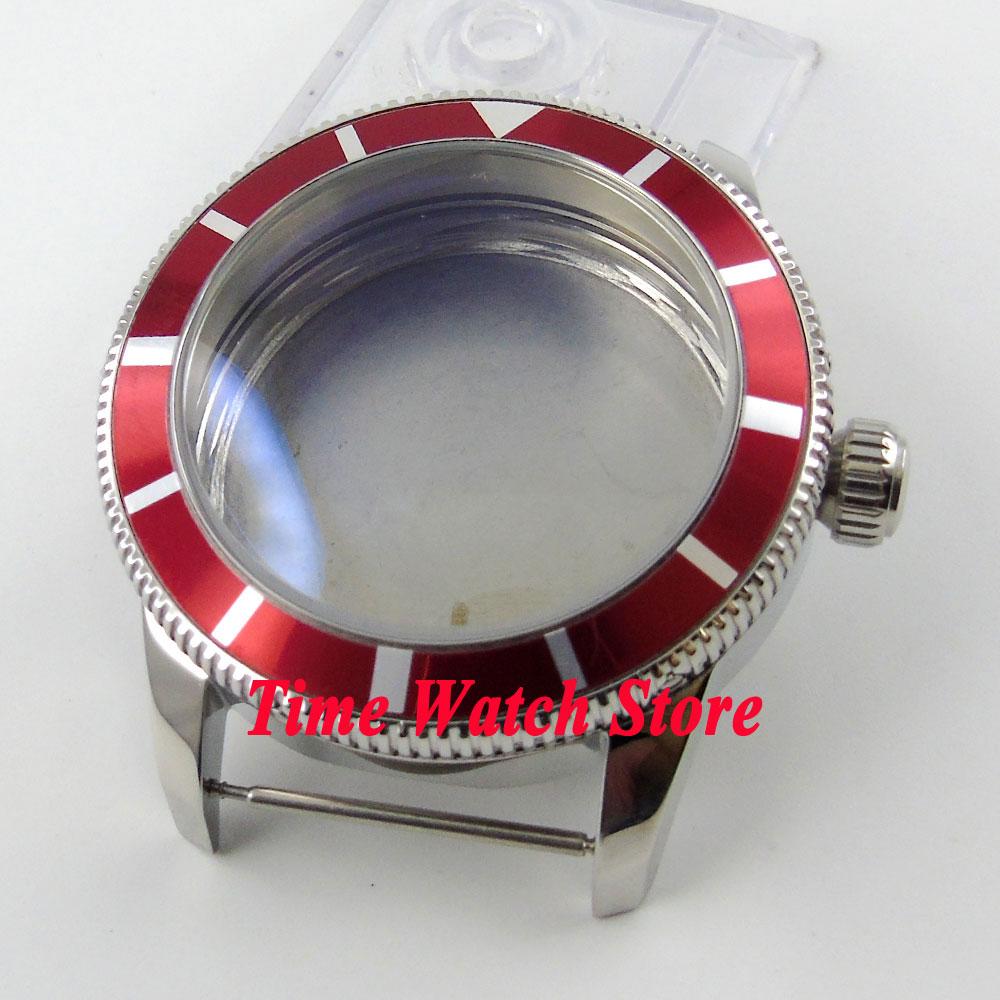 46mm red bezel 316L stainless steel case fit ETA 2836 movement C8946mm red bezel 316L stainless steel case fit ETA 2836 movement C89