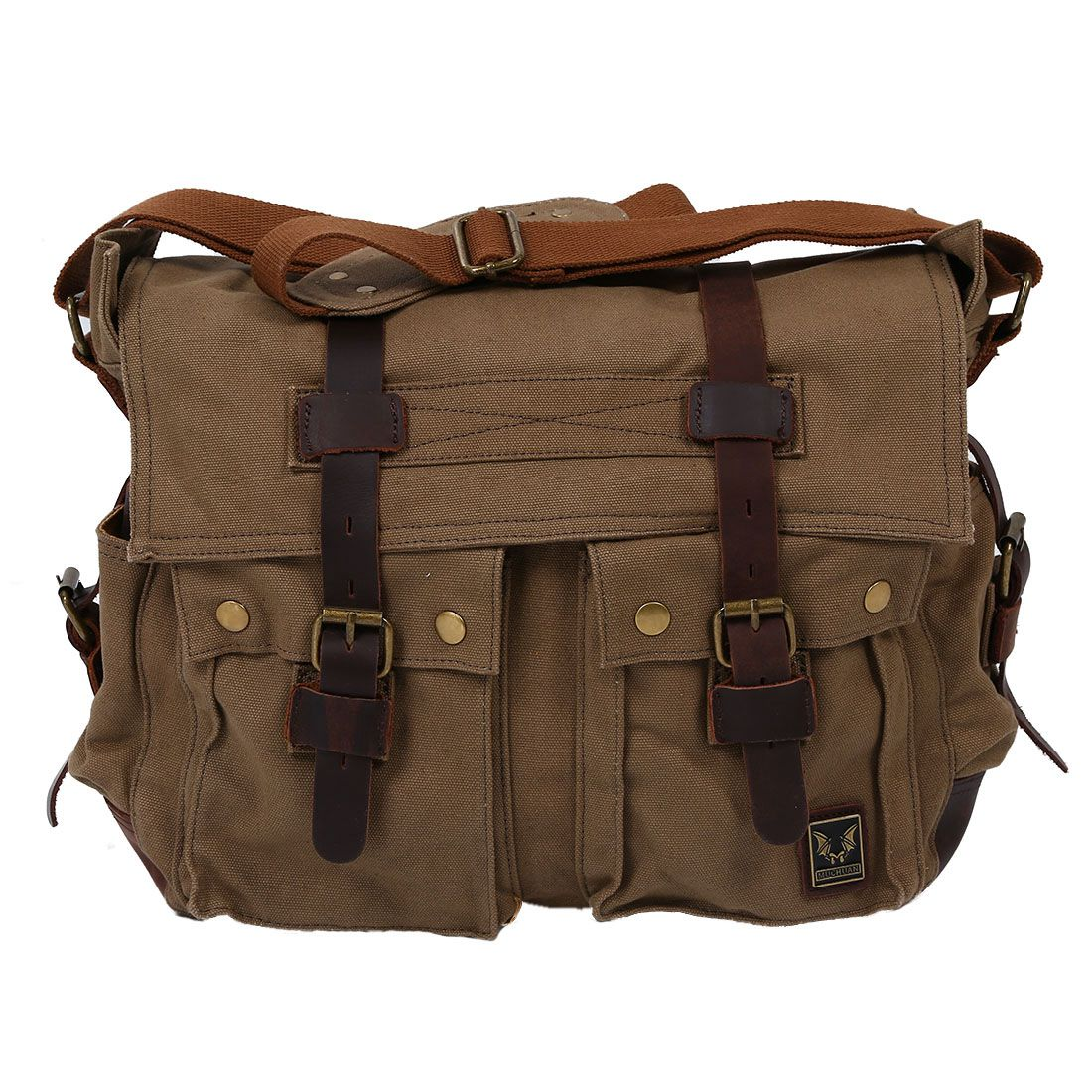 Men's Vintage Canvas Leather School Shoulder Bag Messenger Sling Crossbody Bag Satchel aerlis brand men handbag canvas pu leather satchel messenger sling bag versatile male casual crossbody shoulder school bags 4390