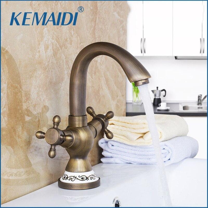 KEMAIDI Antique Brass Ceramic Tap Mixer Faucet Unique Design Rotated Kitchen Swivel Dual Handles Basin Sink Swivel Facuet swivel spout antique brass kitchen faucet single ceramic handles mixer tap
