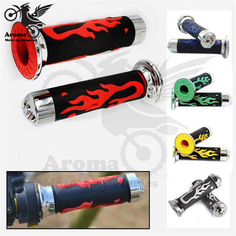 5 colors fire model decal skull rubber parts motorbike handle bar unviersal 22mm 24mm scooter grips moto handlebar motorcycle