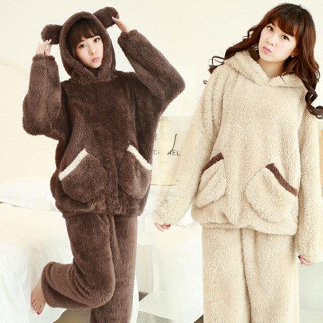 Зима толстые фланелевые пижамы женские мультфильм медведь с капюшоном костюм Домашнего Интерьера сладкий Плюшевые теплый kigurumi