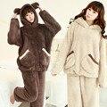 Inverno pijama de flanela grossa feminino urso dos desenhos animados com capuz terno Mobiliário Doméstico doce Plush quente kigurumi