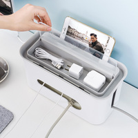 Fire Plastic Desktop Network Wire Storage Box Cable Manager Organizer Box Cable Manager Heat Emission Hole Container HG0599