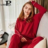 LOBBPAJA Women Pajama Sets Autumn Spring Long Sleeves V Neck Loose Top & Long Bottoms Sleepwear Sleep Lounge Home Casual Clothes