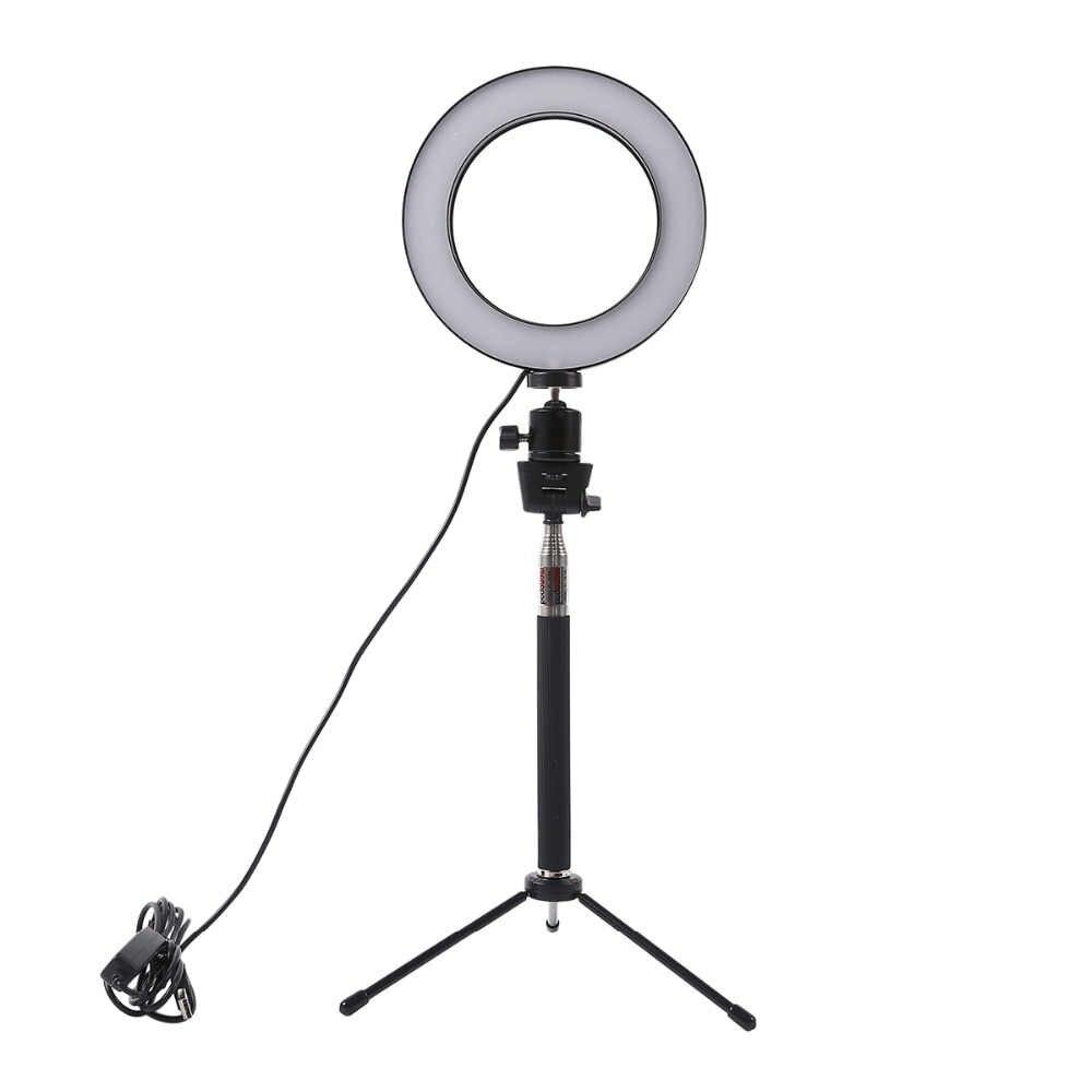 Pode ser escurecido LED Câmera de Estúdio Foto De Anel de Luz Telefone Video Light Lamp Com Tripés Selfie Vara Anel de Mesa de Luz de Preenchimento Para canon
