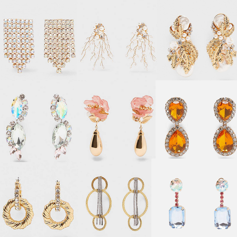 Dvacaman Drop-Earrings Jewelry Crystal Rhinestone Bridal Multi-Color Trendy ZA Tassel
