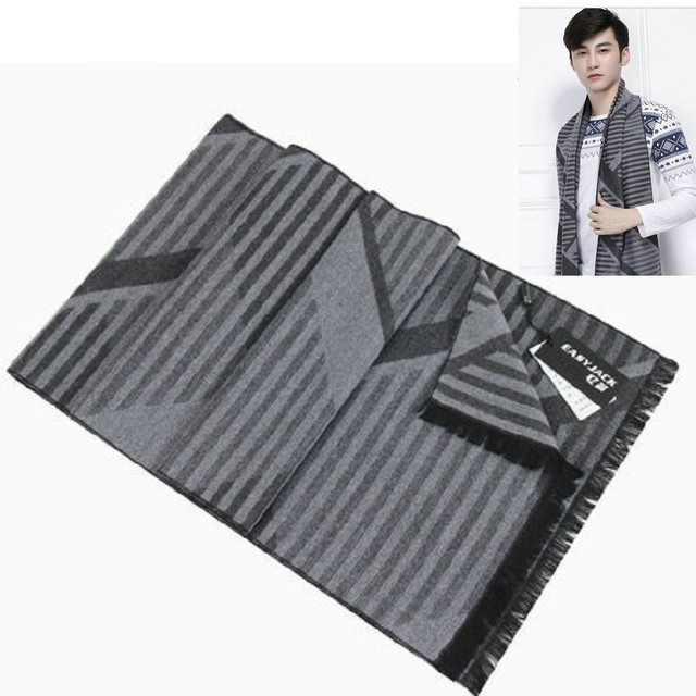 men's scarf long scarves clothes accessories shawl plaid strips fashion winter autumn warm neckerchief