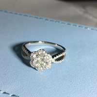 ANI 18K White Gold (AU750) Engagement Ring Certified I J/SI 0.44 CT Natural Diamond Brilliant Flower Shape Women Wedding Rings