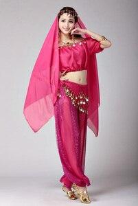 Image 4 - Damskie dziewczyny Halloween na imprezę Cosplay taniec brzucha Aladdin księżniczka Jasmine kostium dla dorosłych moda kostiumy dla kobiet 6 kolorów