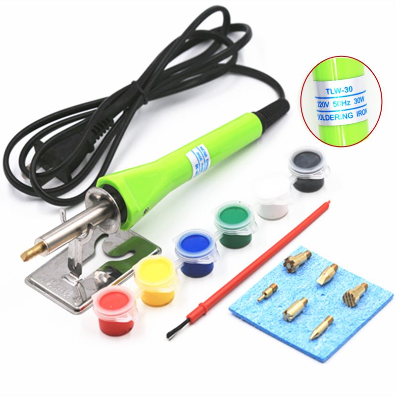 SZBFT 30W Wood Burning Pen Electric Soldering Iron Set with 6PCS Tips and Accessories soldering holder soldering sponge