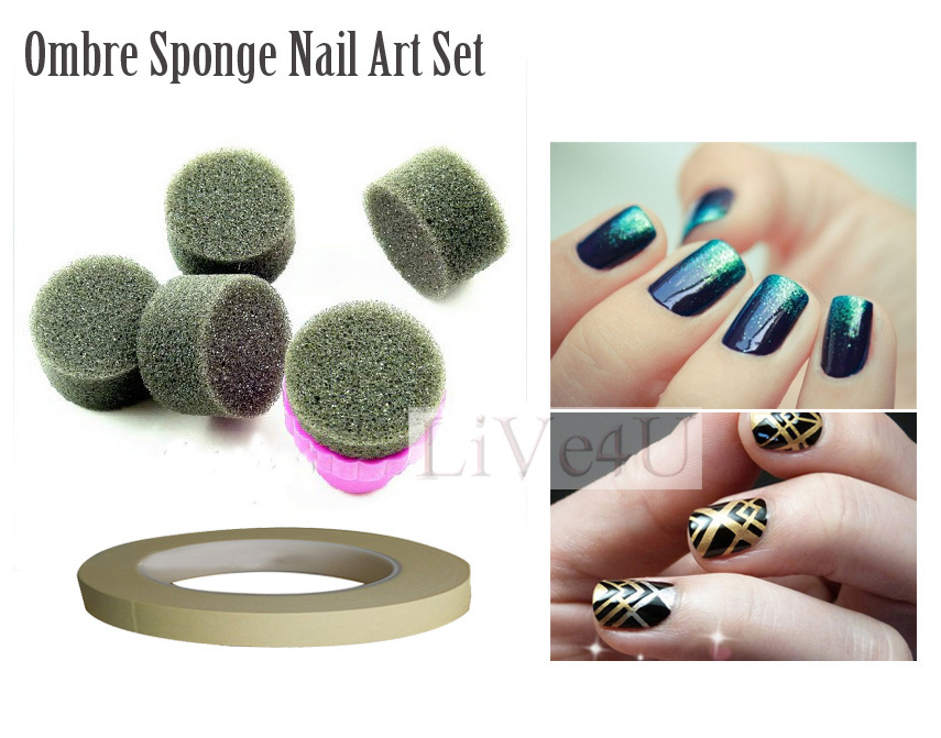Free Shipping Sponge Nail Art Set Stamping Art Kit With 5 Sponges 1