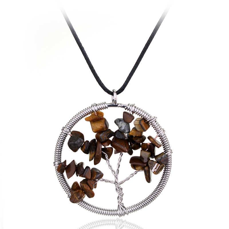 Dongsheng חדש עיצוב טבעי קריסטל תליון שרשרת עץ של חיים אבנים קולר קוורץ עור שרשרות חג המולד מתנות-30