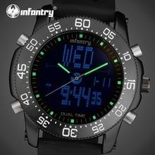 Tactical INFANTERÍA Mens Relojes de Cuarzo Marca de Lujo LED Digital Reloj Relogio masculino Reloj Correa De Caucho A Prueba de Agua Marina