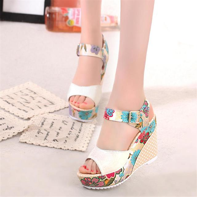 8ea18744ce830 2018 Women Sandals Summer Platform Wedges Casual Shoes Woman Floral Super  High Heels Open Toe Slippers Sandalias Zapatos Mujer