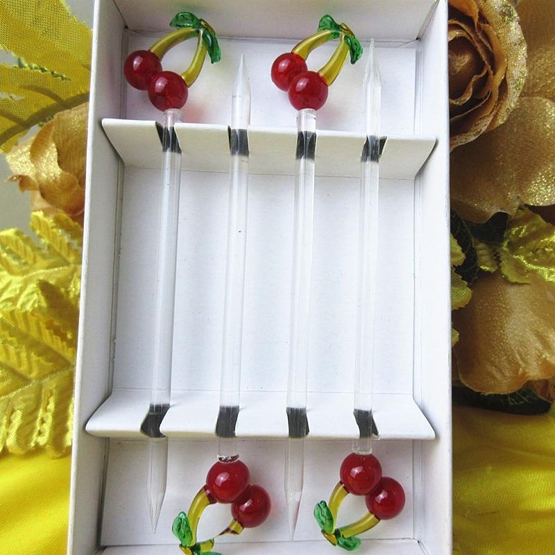 Creative glass fruit fork wedding set cherry shape sculpture decoration restaurant accessories label dessert