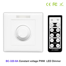 BC-320-6A constant voltage PWM LED dimmer knob style wall with remote DC12V-48V 6A led controller For light