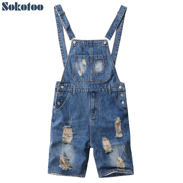 Sokotoo Men's slim ripped blue denim bib overalls shorts Boy's summer knee length holes distressed jeans
